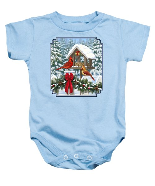 Cardinals Christmas Feast Baby Onesie by Crista Forest