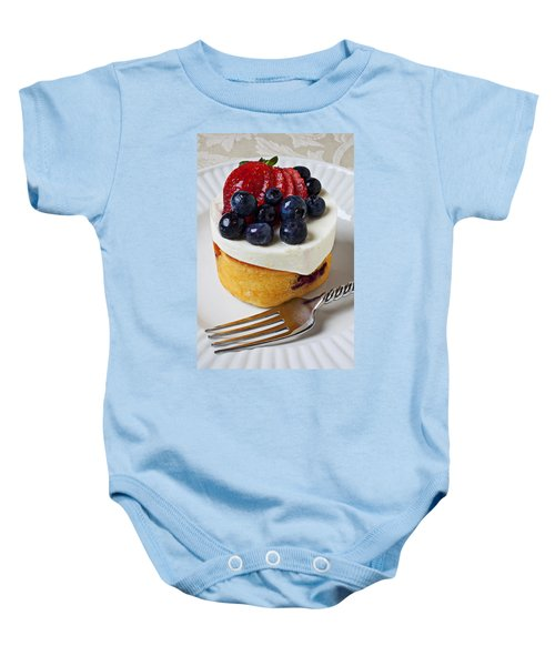 Cheese Cream Cake With Fruit Baby Onesie by Garry Gay