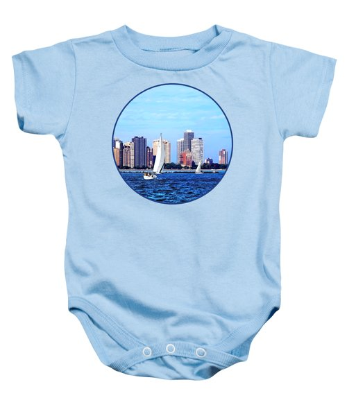 Chicago Il - Two Sailboats Against Chicago Skyline Baby Onesie by Susan Savad