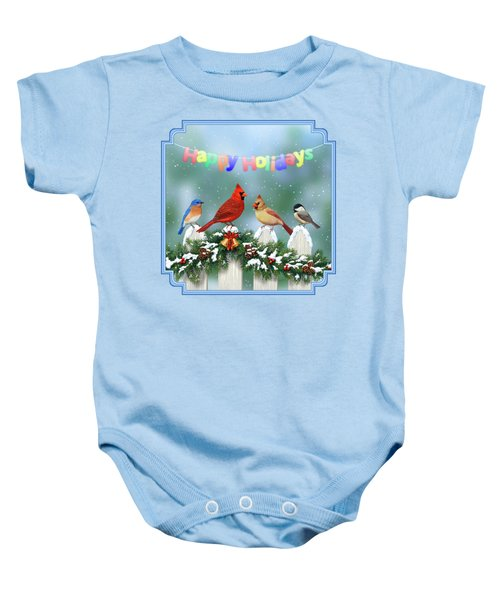 Christmas Birds And Garland Baby Onesie by Crista Forest