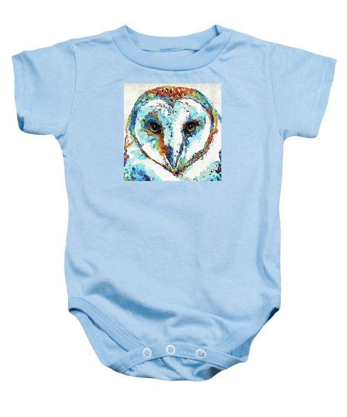 Colorful Barn Owl Art - Sharon Cummings Baby Onesie by Sharon Cummings