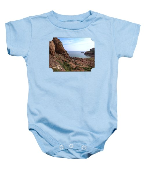 Daisies In The Granite Rocks At Corbiere Baby Onesie by Gill Billington
