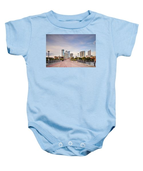 Downtown Austin Skyline From Lamar Street Pedestrian Bridge - Texas Hill Country Baby Onesie by Silvio Ligutti