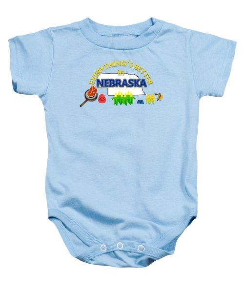 Everything's Better In Nebraska Baby Onesie by Pharris Art