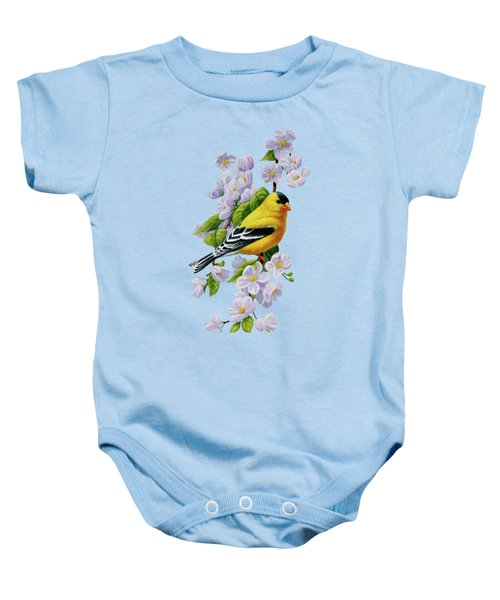Goldfinch Blossoms Greeting Card 1 Baby Onesie by Crista Forest