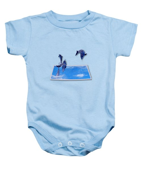 Leaping Dolphins Baby Onesie by Roger Wedegis