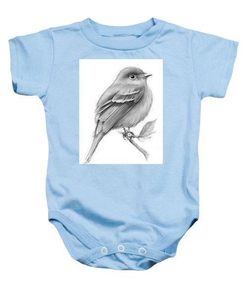 Least Flycatcher Baby Onesie by Greg Joens