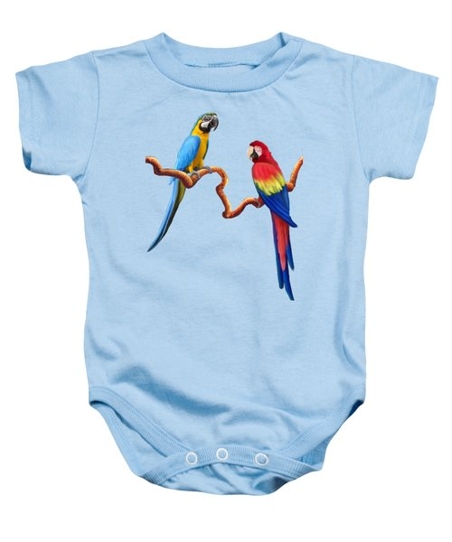 Macaw Tropical Parrots Baby Onesie by Glenn Holbrook