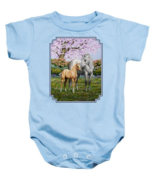 Mare And Foal Pillow Blue Baby Onesie by Crista Forest