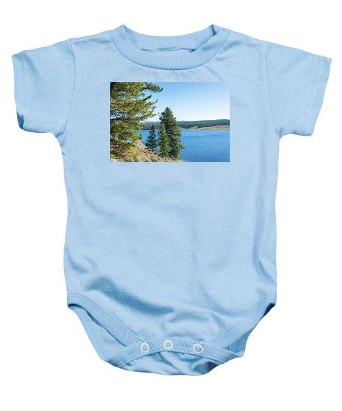 Meadowlark Lake And Trees Baby Onesie by Jess Kraft