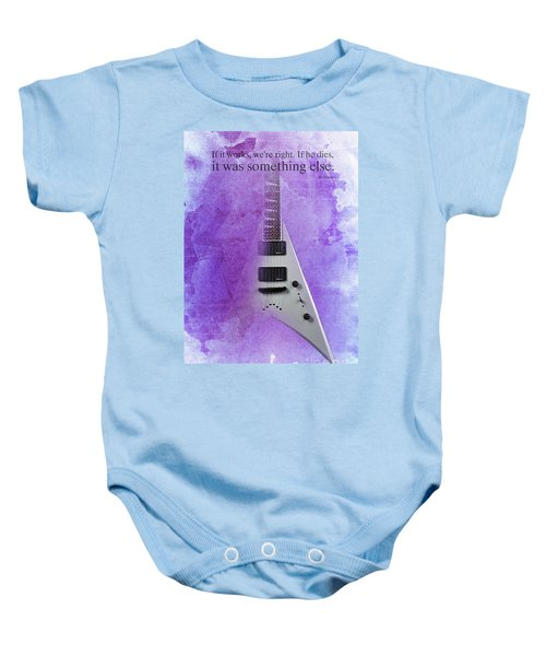 Mr Spock Inspirational Quote And Electric Guitar Purple Vintage Poster For Musicians And Trekkers Baby Onesie by Pablo Franchi