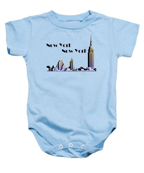 New York New York Skyline Retro 1930s Style Baby Onesie by Heidi De Leeuw