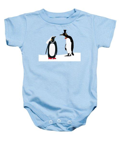 Penguin Marriage Baby Onesie by Priscilla Wolfe