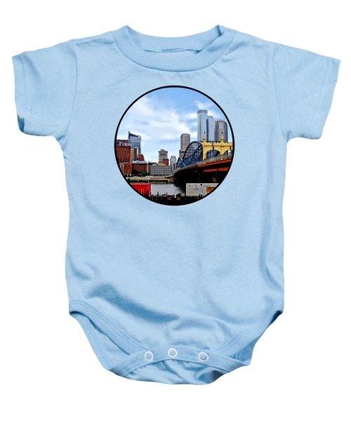 Pittsburgh Pa - Train By Smithfield St Bridge Baby Onesie by Susan Savad