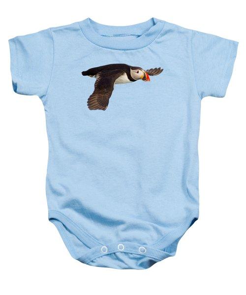 Puffin In Flight T-shirt Baby Onesie by Tony Mills