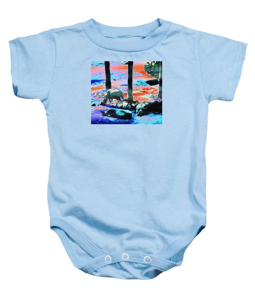 Rhinos Having A Picnic Baby Onesie by Abstract Angel Artist Stephen K