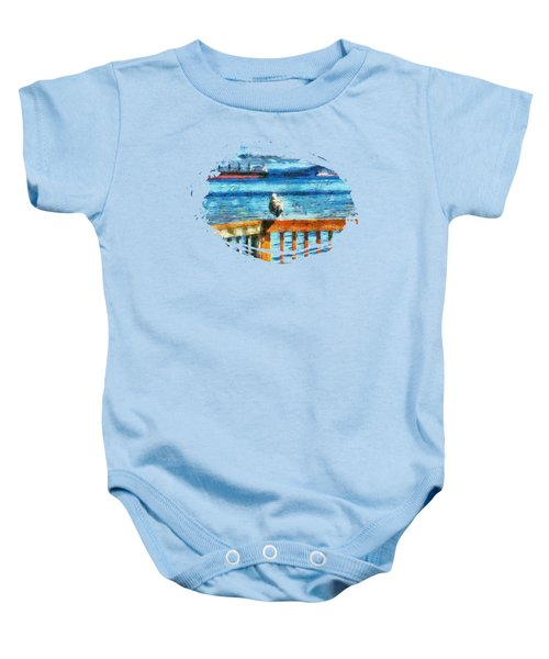 Seagull In Astoria  Baby Onesie by Thom Zehrfeld