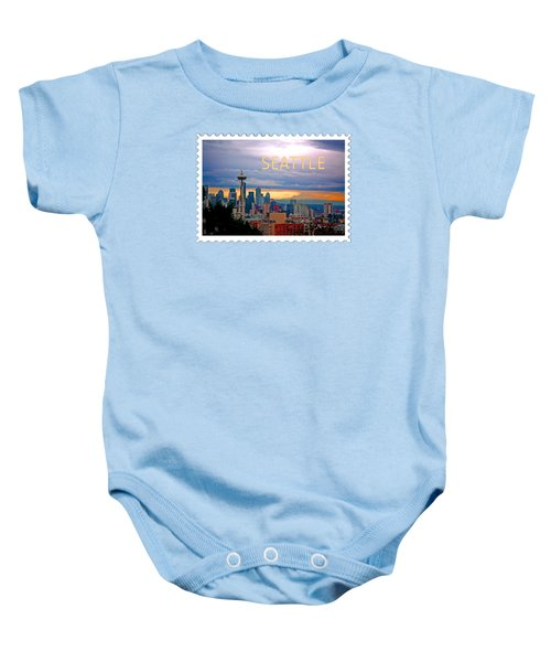 Seattle At Sunset Text Seattle Baby Onesie by Elaine Plesser