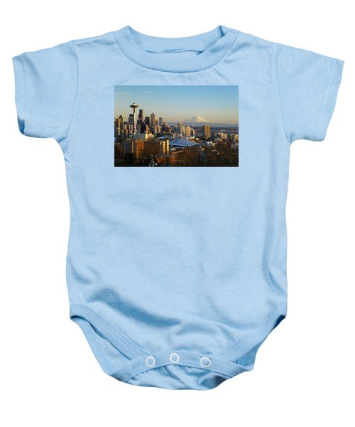 Seattle Cityscape Baby Onesie by Greg Vaughn - Printscapes