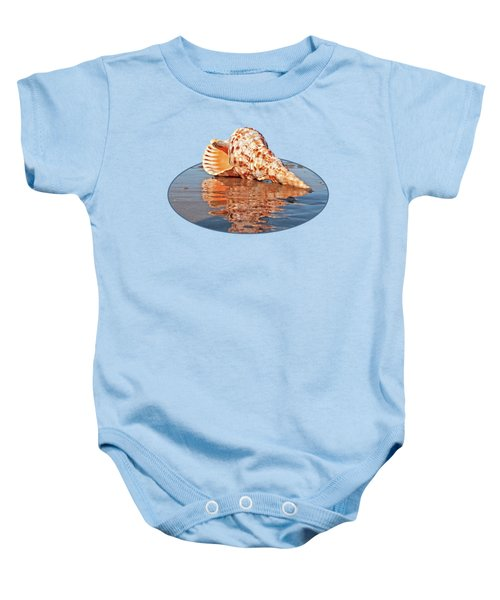 Sounds Of The Ocean - Trumpet Triton Seashell Baby Onesie by Gill Billington