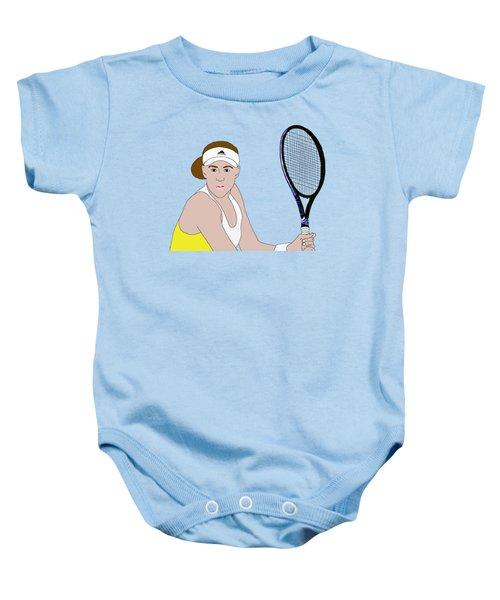 Tennis Player Baby Onesie by Priscilla Wolfe