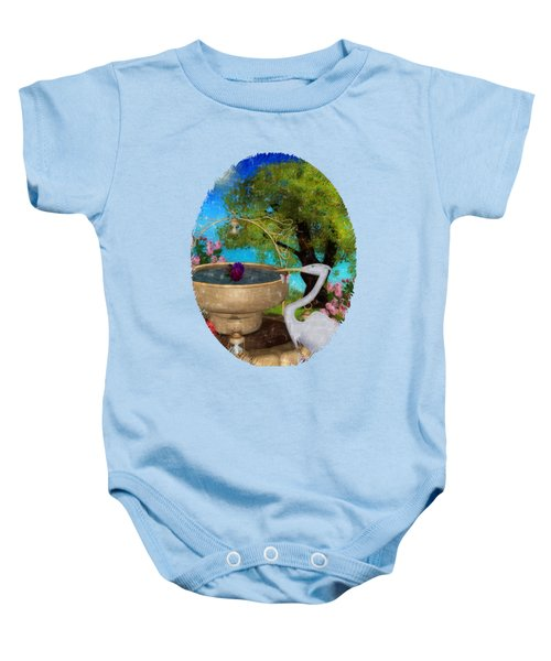 The Rose Path Egret Baby Onesie by Sharon and Renee Lozen
