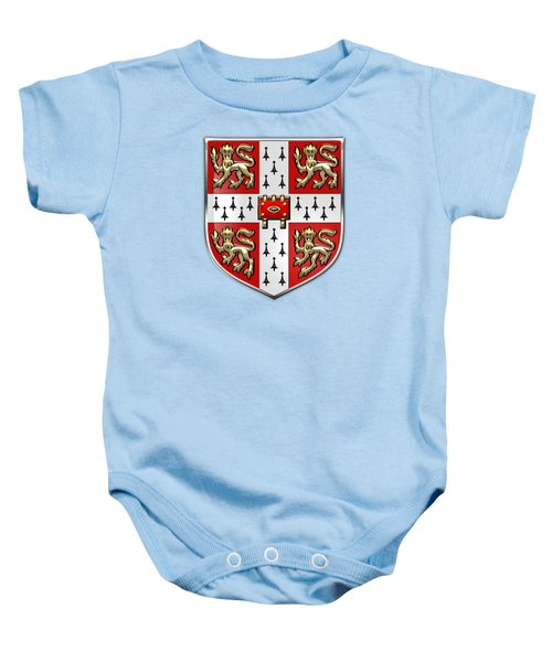 University Of Cambridge Seal - Coat Of Arms Over Colours Baby Onesie by Serge Averbukh
