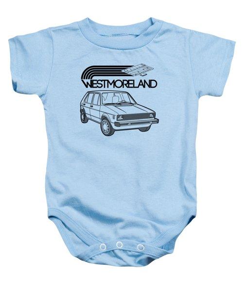 Vw Rabbit - Westmoreland Theme - Black Baby Onesie by Ed Jackson
