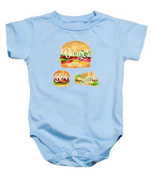 White Burger Baby Onesie by Aloke Design