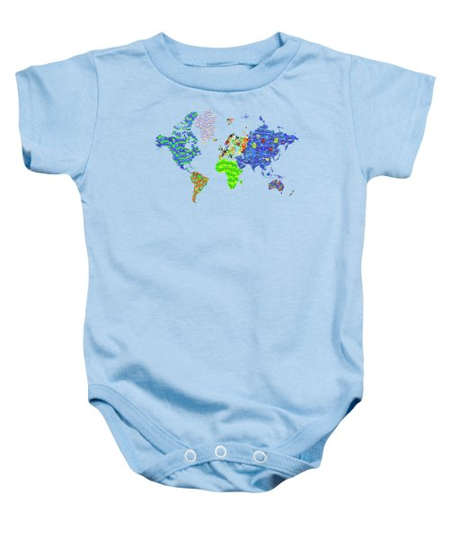 Whole World's Gone Bananas - World Map Sticker Art Baby Onesie by Rayanda Arts