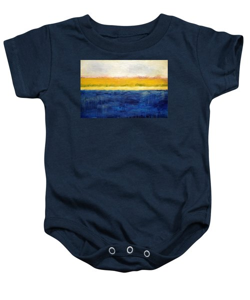Abstract Dunes With Blue And Gold Baby Onesie by Michelle Calkins