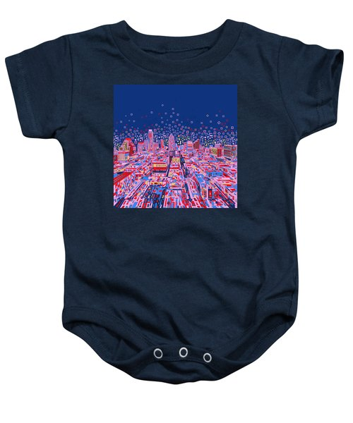 Austin Texas Abstract Panorama Baby Onesie by Bekim Art