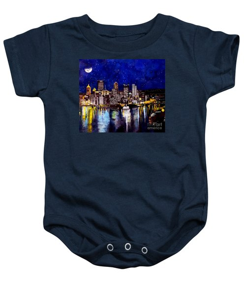 City Of Pittsburgh At The Point Baby Onesie by Christopher Shellhammer