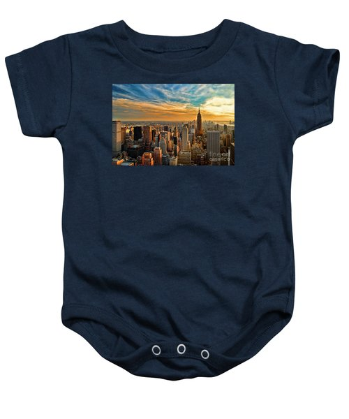 City Sunset New York City Usa Baby Onesie by Sabine Jacobs