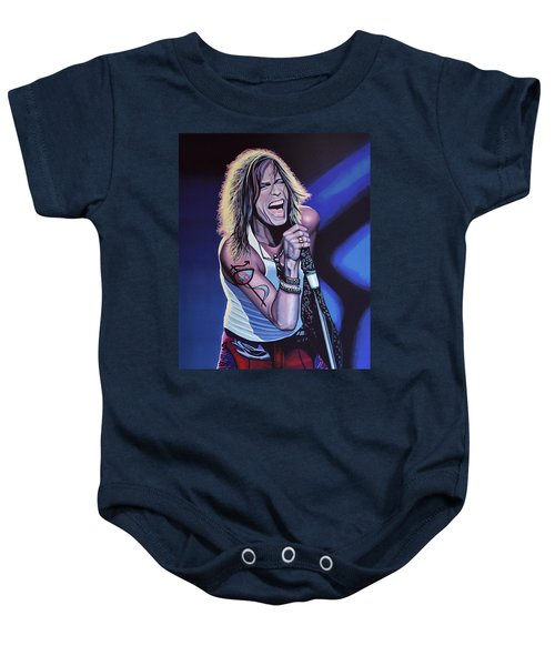 Steven Tyler Of Aerosmith Baby Onesie by Paul Meijering