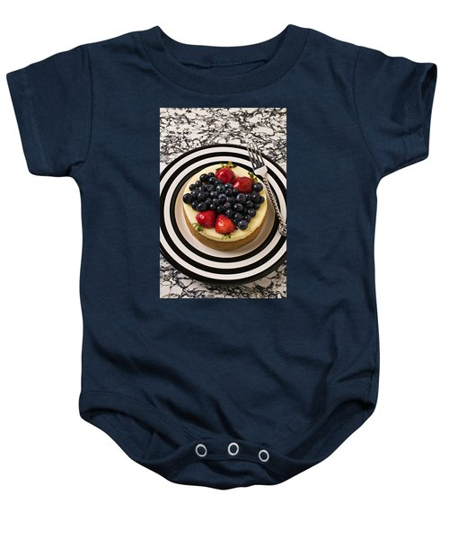 Cheese Cake On Black And White Plate Baby Onesie by Garry Gay