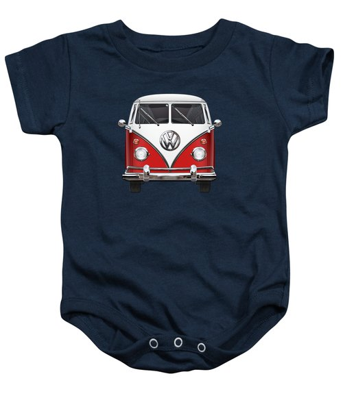 Volkswagen Type 2 - Red And White Volkswagen T 1 Samba Bus Over Green Canvas  Baby Onesie by Serge Averbukh