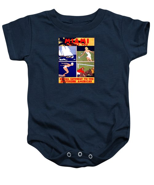1925 Miami Travel Poster Baby Onesie by Historic Image