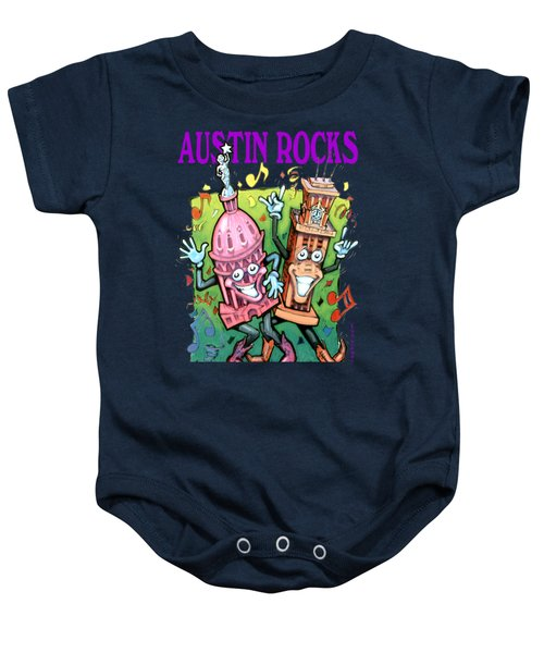 Austin Texas Cartoon Map Baby Onesie by Kevin Middleton