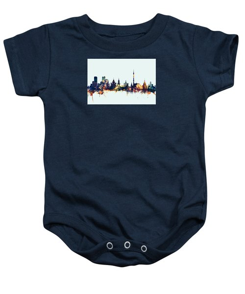 Moscow Russia Skyline Baby Onesie by Michael Tompsett