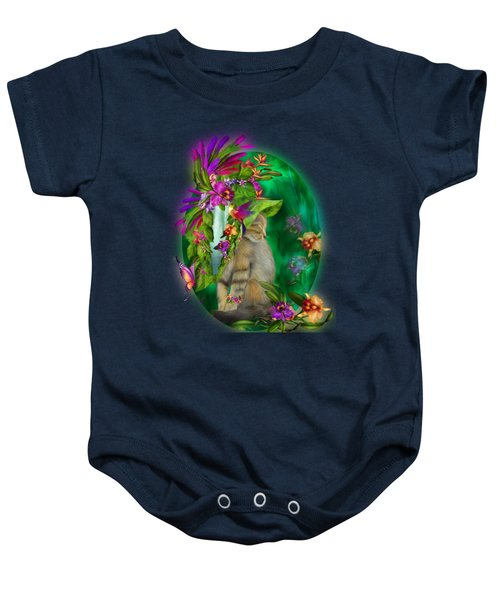 Cat In Tropical Dreams Hat Baby Onesie by Carol Cavalaris