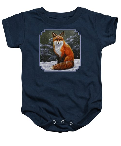 Snow Fox Baby Onesie by Crista Forest