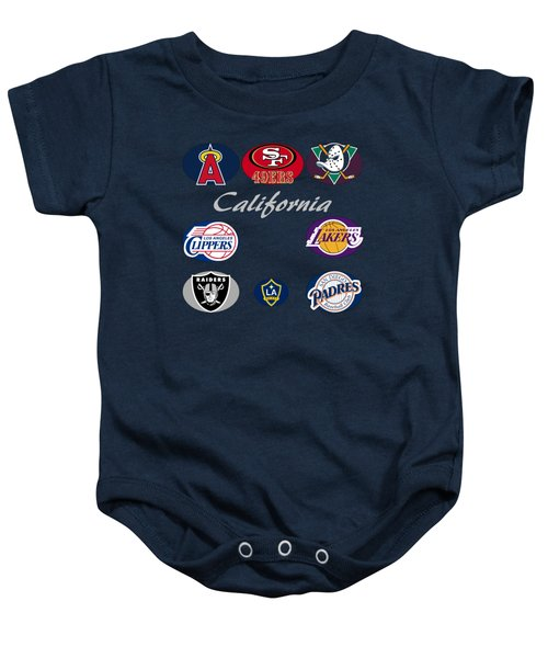 California Professional Sport Teams Collage  Baby Onesie by Movie Poster Prints
