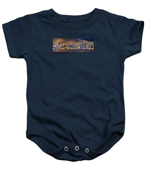 Chicago Skyline At Night Panorama Color 1 To 3 Ratio Baby Onesie by Jon Holiday
