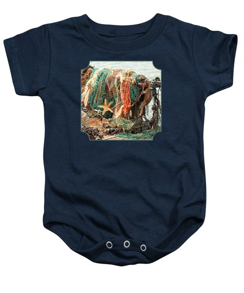 Colorful Catch - Starfish In Fishing Nets Square Baby Onesie by Gill Billington