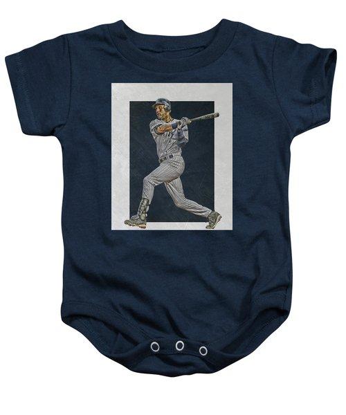 Derek Jeter New York Yankees Art 2 Baby Onesie by Joe Hamilton