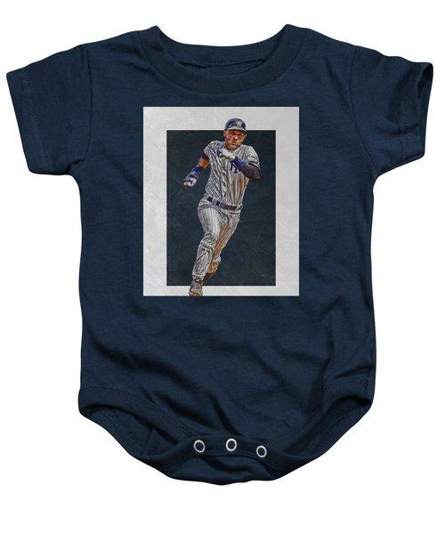 Derek Jeter New York Yankees Art 3 Baby Onesie by Joe Hamilton