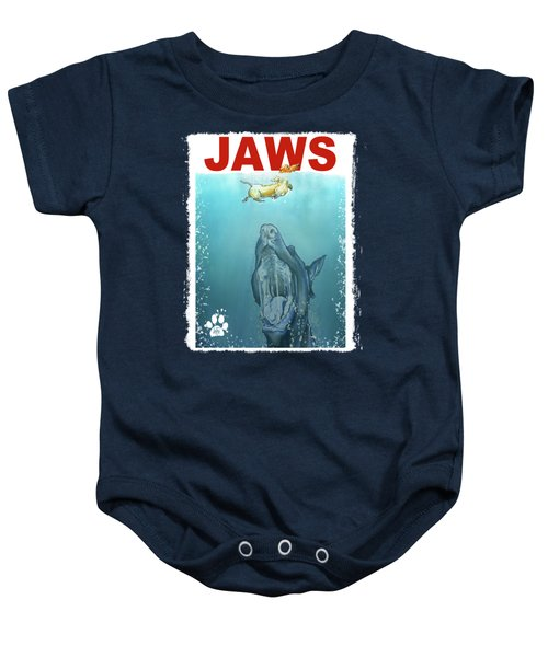 Dog-themed Jaws Caricature Art Print Baby Onesie by John LaFree