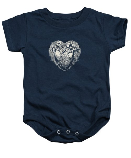 Foliage Heart Drawing On Dark Baby Onesie by Illustratorial Pulse