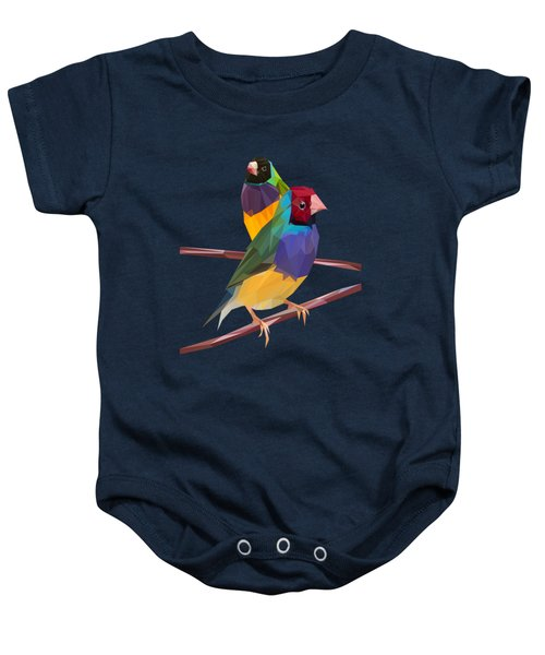 Gouldian Finch Duo Baby Onesie by James Bryson